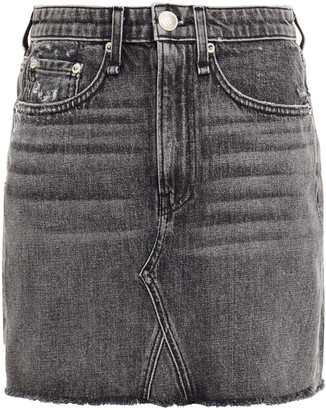 Rag & Bone Distressed Denim Mini Skirt