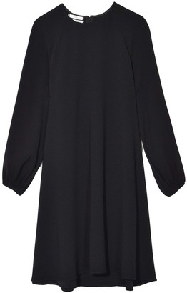 Co Crepe Balloon Sleeve Dress in Black