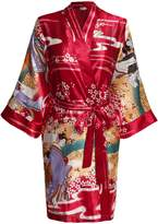 HOTOUCH Women's Kimono Robes Geisa and Blossoms Silk Nightwear Short Style L