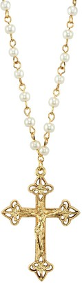 1928 14k Gold-Plated Simulated Pearl Crucifix Pendant Necklace