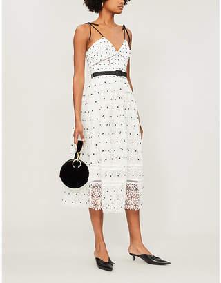 Self-Portrait Belted polka dot floral lace midi dress