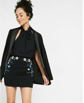Express embroidered floral mini skirt