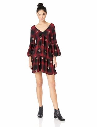 Angie Women's All Over Embroidered Flare Sleeve Dress