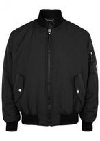 Versace Black Leather-trimmed Bomber Jacket