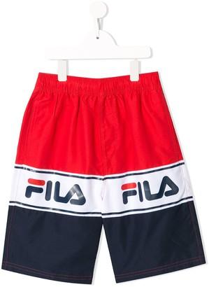 Fila Kids Colour-Block Logo Shorts