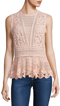 Rebecca Taylor Sleeveless Lace Peplum Top