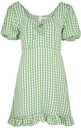 Faithfull The Brand Agathe Green Checked Rayon Mini Dress