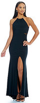 Xscape Evenings Halter Necklace Cut-Out Gown