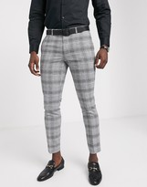 Moss Bros suit trouser black and white check