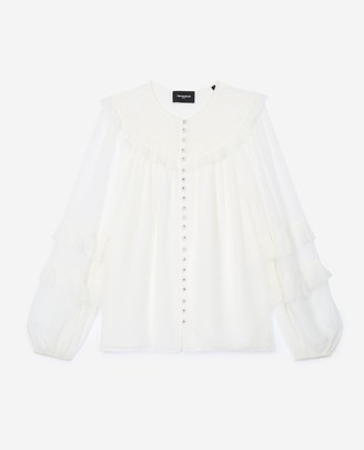 The Kooples Flowing ecru shirt with smocked neck
