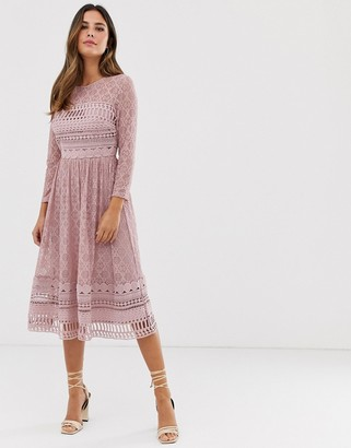 ASOS DESIGN lace midi skater dress in mink
