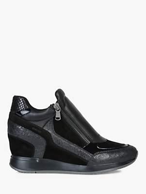 Geox Women's Nydame Wedge Heel Zip Up Trainers, Black