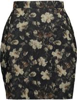 Valentino Printed silk-faille mini skirt