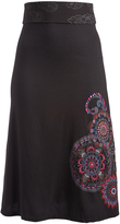 Aller Simplement Black & Purple Swirl-Accent Band-Waist Skirt