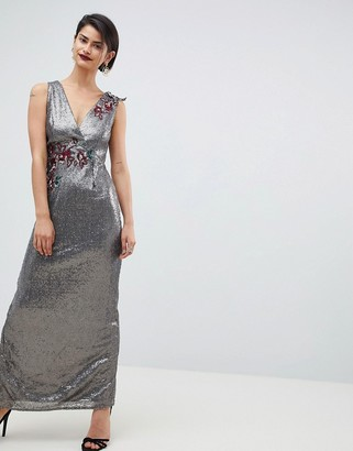 Little Mistress All Over Sequin Maxi Dress-Brown