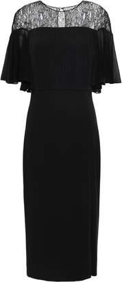 Cushnie Draped Lace-paneled Stretch-crepe Dress