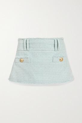Balmain Button-embellished Cotton-blend Tweed Mini Skirt - Sky blue
