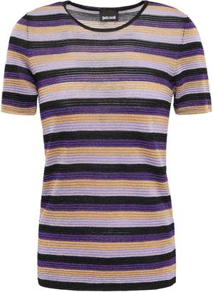 Just Cavalli Metallic Striped Ribbed-knit T-shirt
