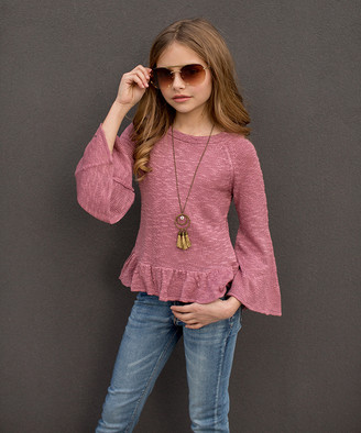 Joyfolie Girls' Pullover Sweaters Mauve - Mauve Gisela Cut-Out Sweater - Toddler & Girls