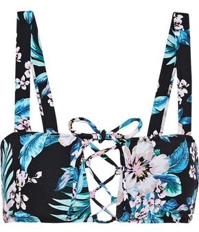 Diane von Furstenberg Lace-up Floral-print Bikini Top