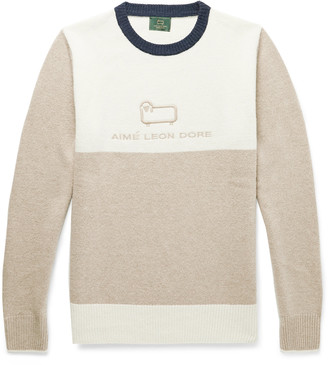 Woolrich Aimé Leon Dore + Logo-Embroidered Colour-Block Wool Sweater