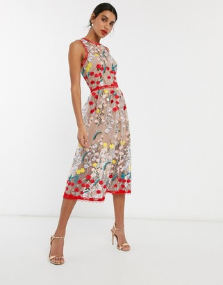 Bronx and Banco Bronx & Banco ivanka embroidered midi dress in multi
