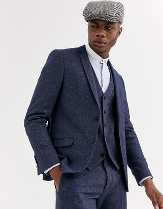 Shelby & Sons slim suit jacket with contrast collar in navy