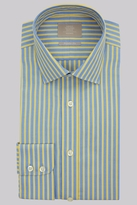 Savoy Taylors Guild Regular Fit Yellow and Blue Single Cuff Stripe Shirt