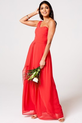 Little Misdress Rock n Roll Bride Libra Fiery Coral One-Shoulder Maxi Dress
