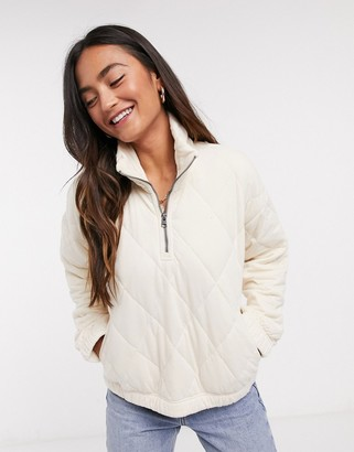 Abercrombie & Fitch quilted fleece jacket in cream