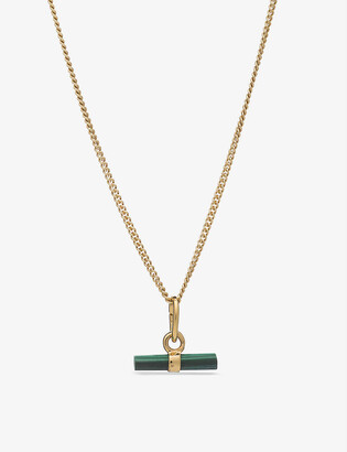 Rachel Jackson Mini T-bar 22ct gold-plated silver and malachite necklace