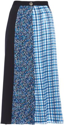 Claudie Pierlot Paneled Printed Satin And Crepe De Chine Midi Skirt
