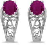 Direct-Jewelry 14k White Gold Round Ruby And Diamond Earrings