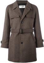 Saint Laurent houndstooth belted coat