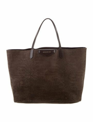 Givenchy Embossed Nubuck Antigona Tote Brown