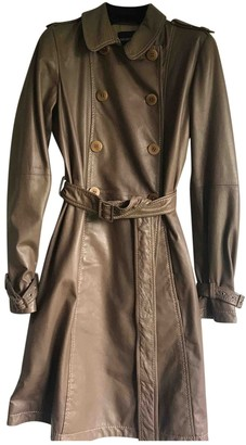 Emporio Armani Khaki Leather Trench Coat for Women