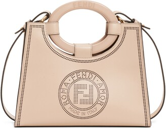 Fendi Runaway Perforated Double-F Logo Leather Shopper