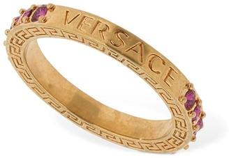 Versace Embellished Logo Ring