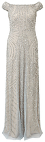 Adrianna Papell Petite Off Shoulder Beaded Gown, Blue Heather/Silver
