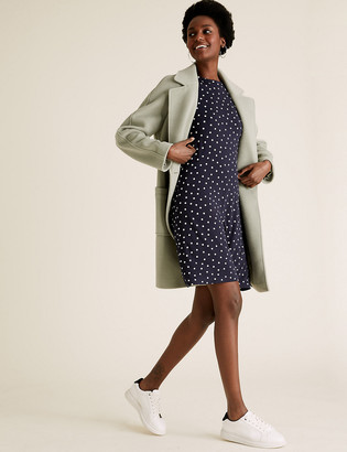 Marks and Spencer Jersey Polka Dot Puff Sleeve Swing Dress