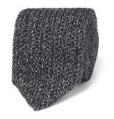 Ermenegildo Zegna 6cm Mélange Knitted Silk And Wool-blend Tie - Gray