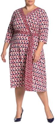 London Times Geometric Faux Wrap Midi Dress (Plus Size)