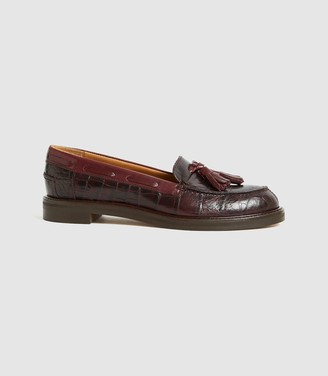 Reiss Farah - Croc Embossed Leather Tassel Loafers in Pomegranate
