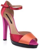 Satin colour-blocked sandal