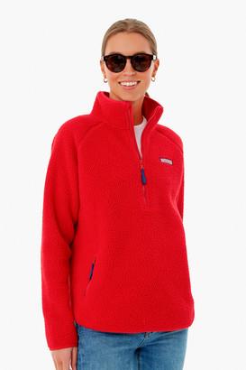 Vineyard Vines Red Velvet Sherpa Half Zip