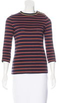 Tory Burch Striped Three Quarter-Sleeve Top