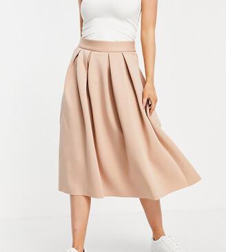ASOS DESIGN Petite midi prom scuba skirt in tan