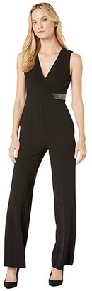 Donna Morgan Stretch Crepe Sleeveless Faux Wrap with Crystal Detail Jumpsuit