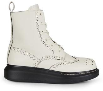 Alexander McQueen Leather Platform Combat Boots