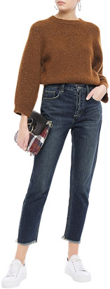 Current/Elliott The Exposed Fly Cropped Distressed High-rise Slim-leg Jeans